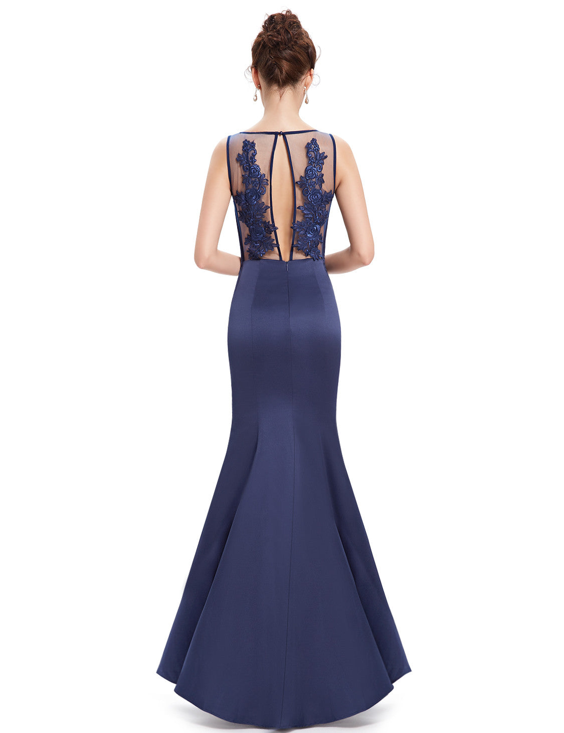 Navy Blue Round Neck Mermaid Maxi Dress - O'beige