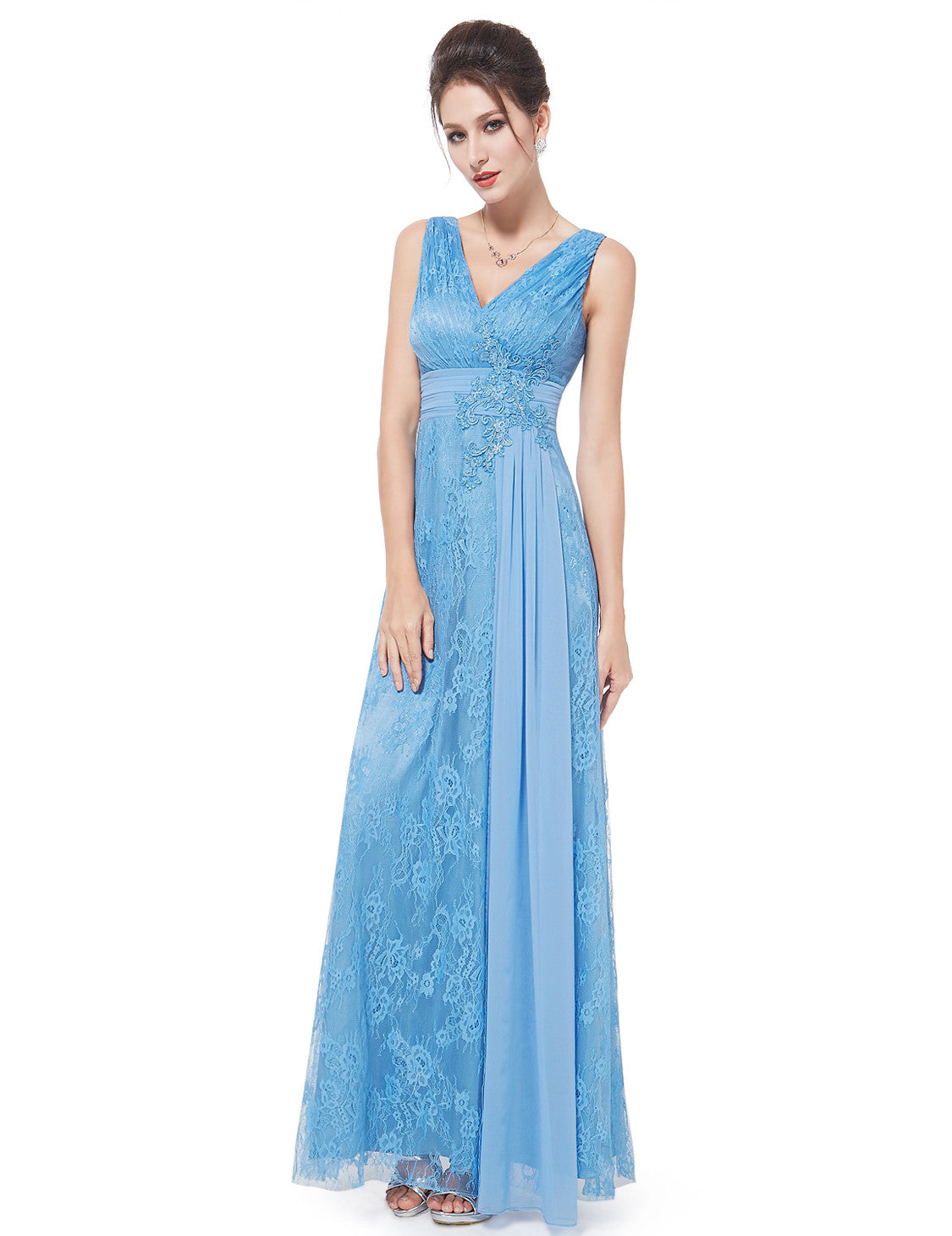 Blue V-neck Ruched Bust Long Dress