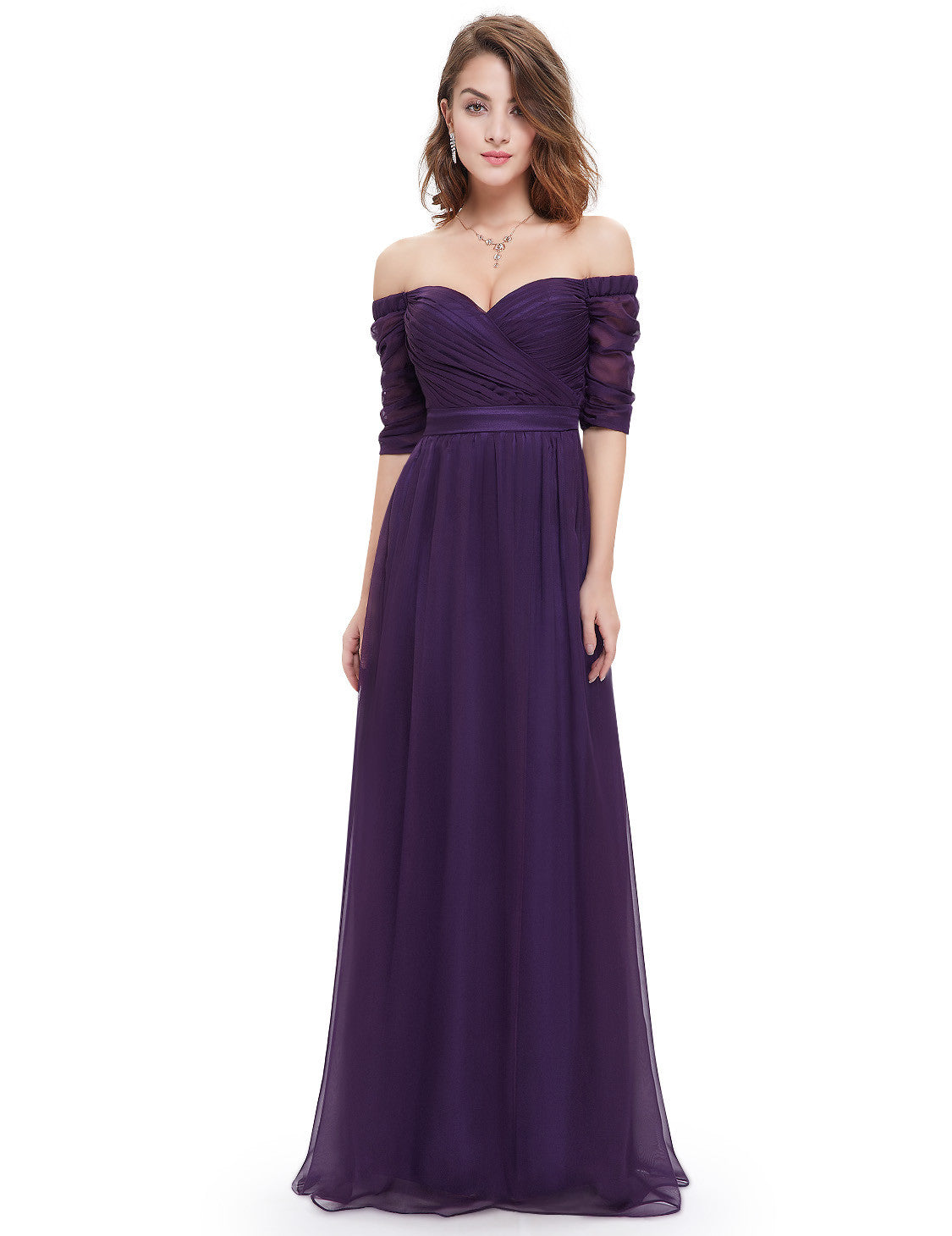 Purple Strapless Half Sleeve Dress