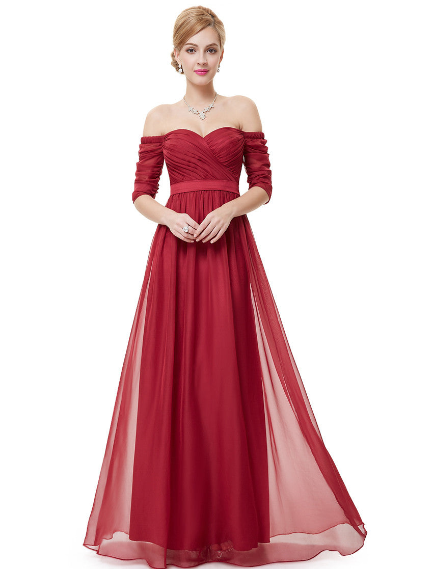 Red Strapless Half Sleeve Dress