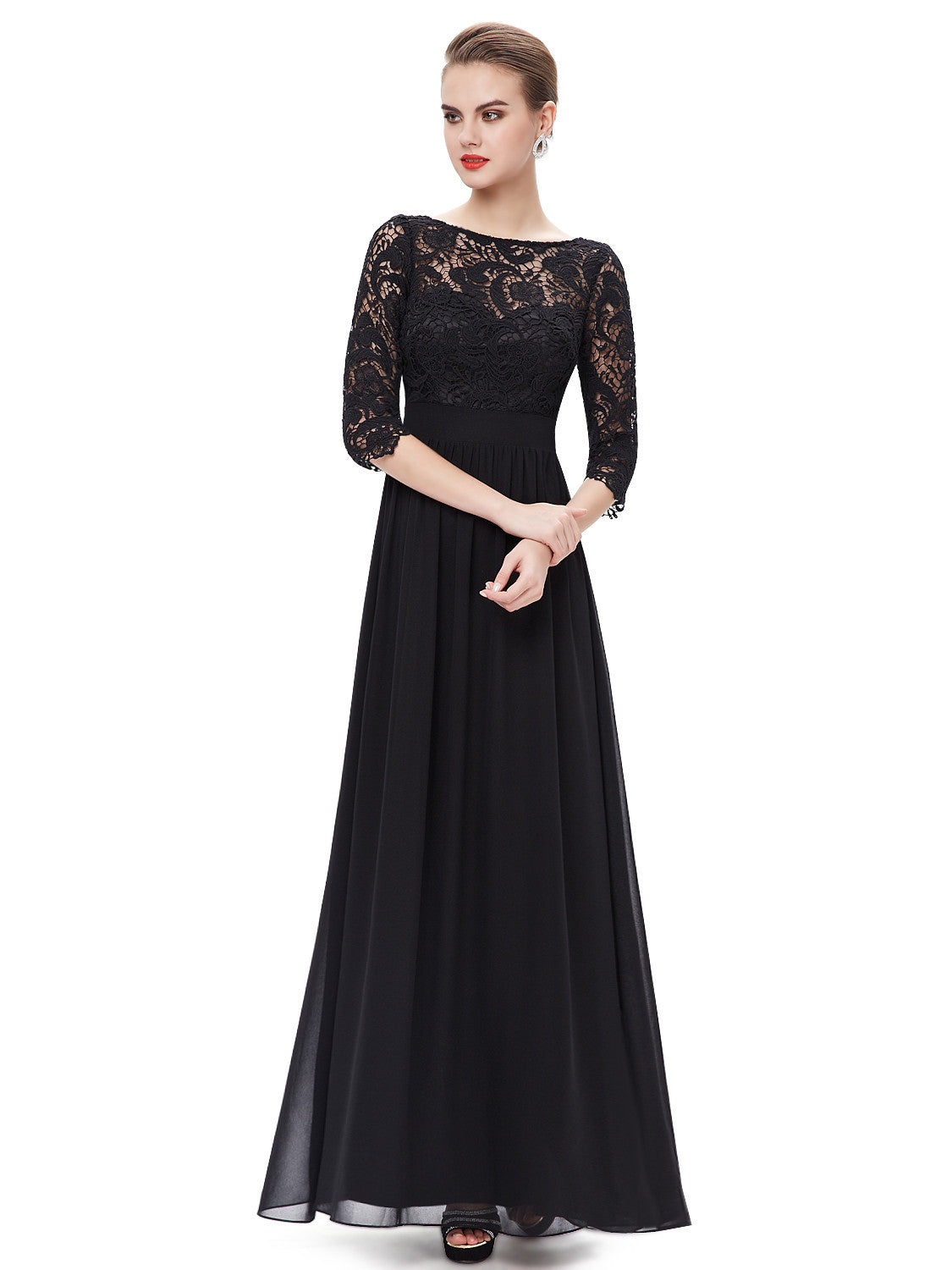 Elegant 3/4 Sleeve Lace Black Dress - O'beige