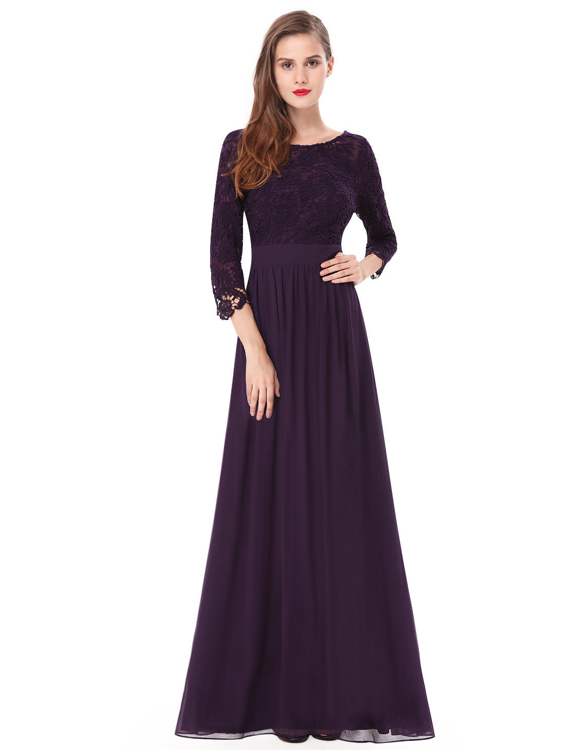 Obeige Elegant Purple 3/4 Sleeve Lace Long Evening Dress