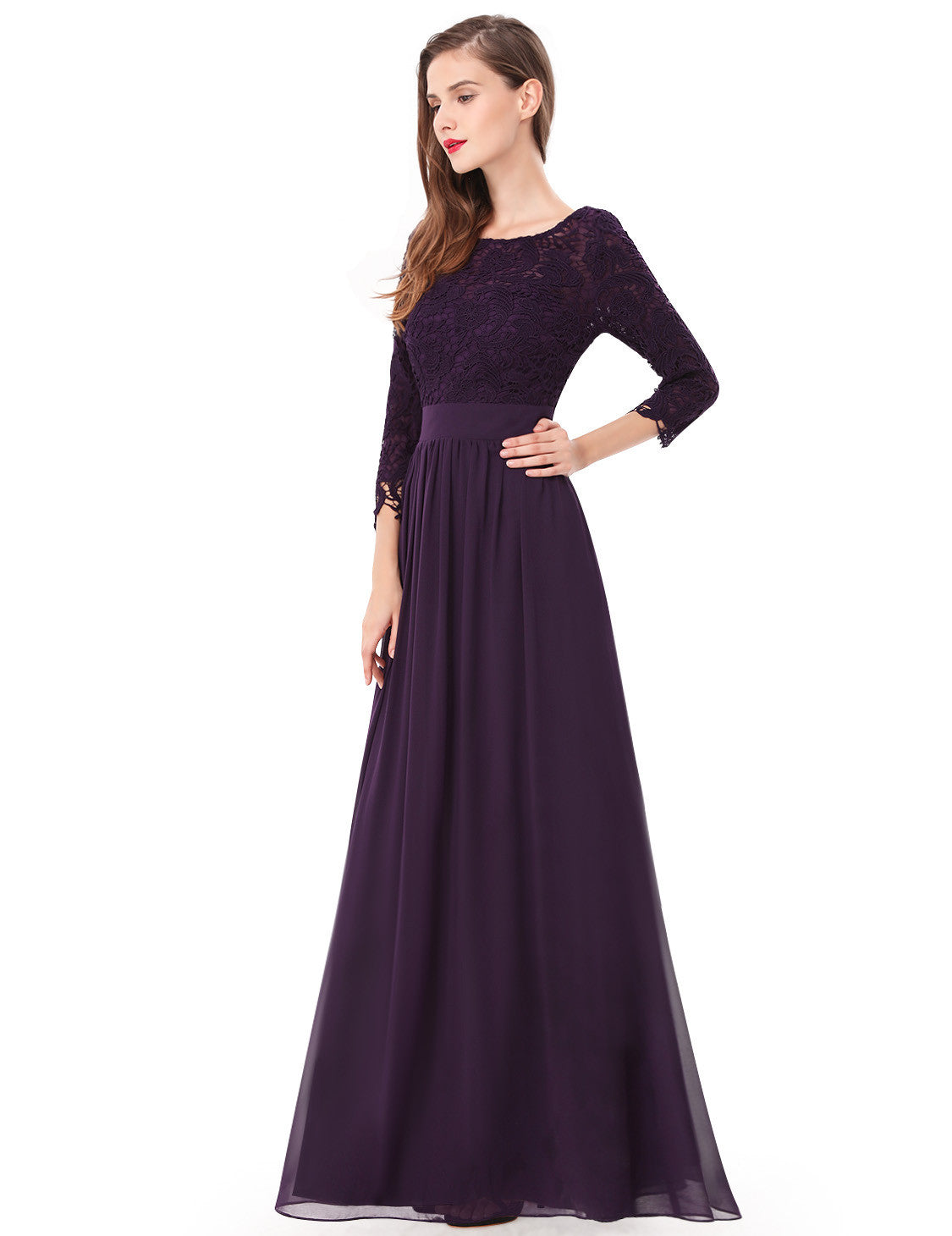 Obeige Elegant Purple 3/4 Sleeve Lace Long Evening Dress - O'beige