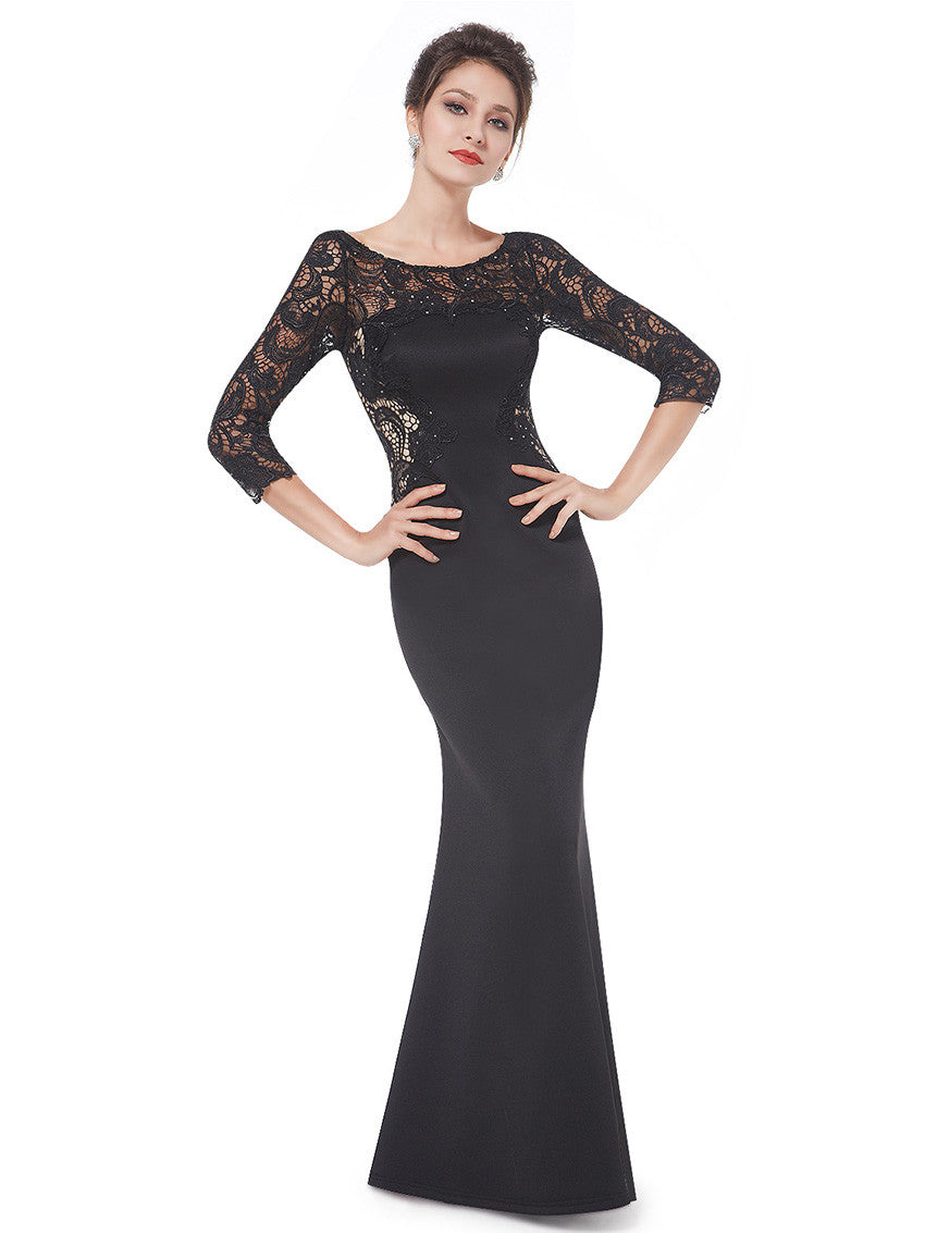 Black Rhinestone 3/9 Sleeve Lace Dress