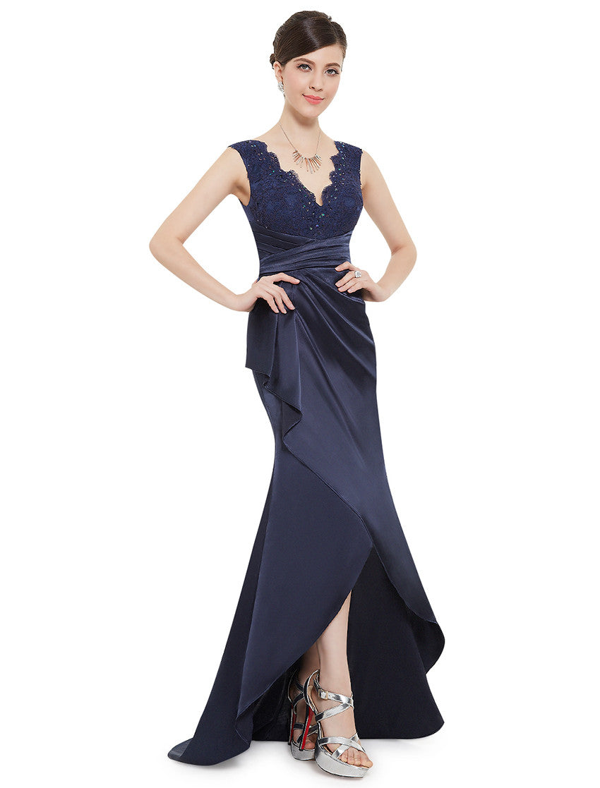 V-neck Mermaid Navy Blue Dress