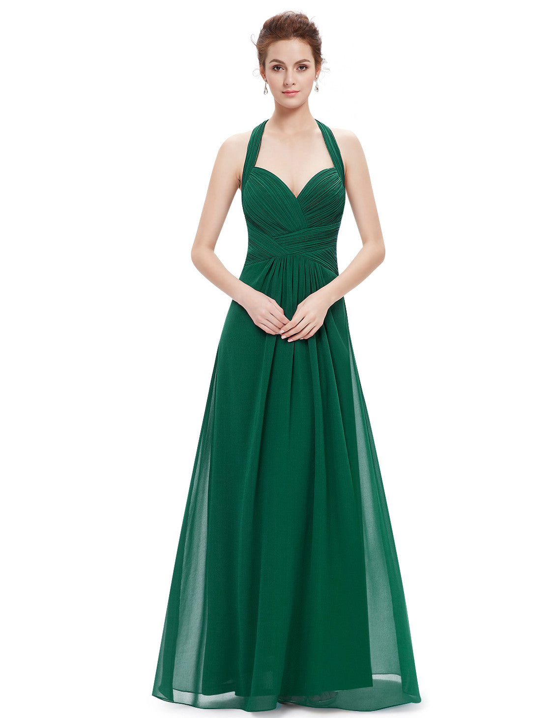 Halter Green Long Evening Maxi Dress