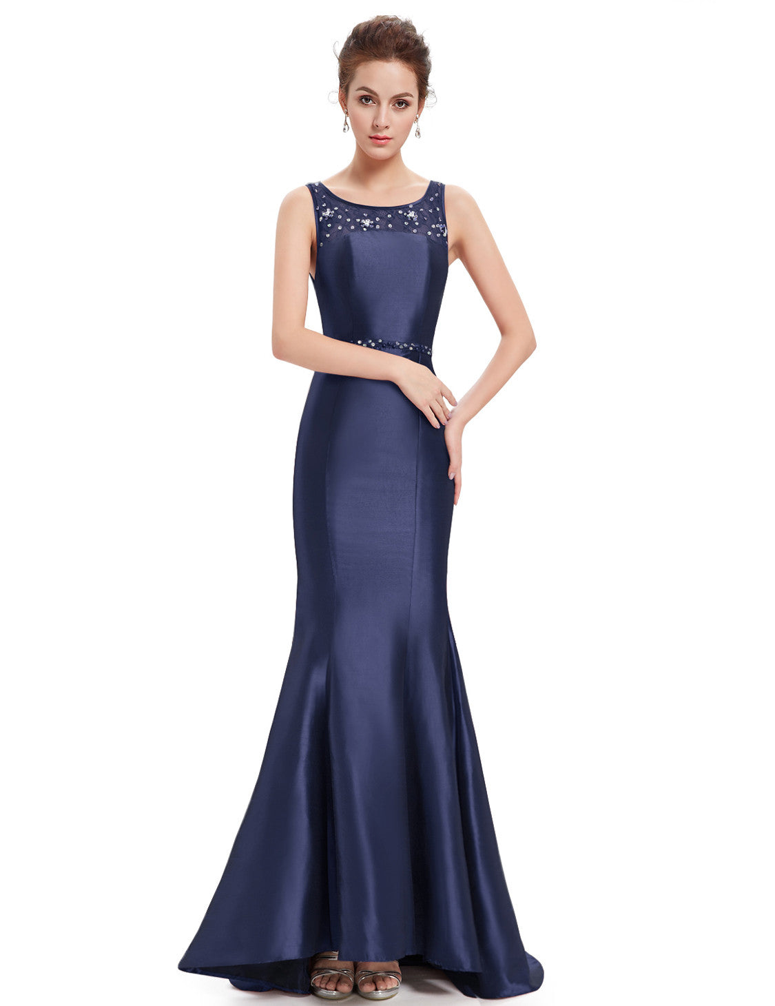 Navy Blue Stunning Trailing Round Neck Fishtail Evening Dress