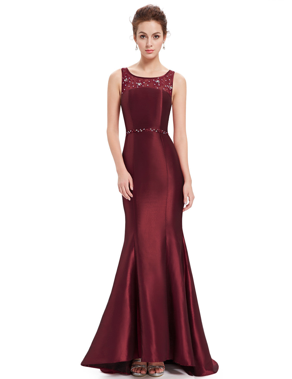 Obeige Stunning Trailing Round Neck Fishtail Evening Dress
