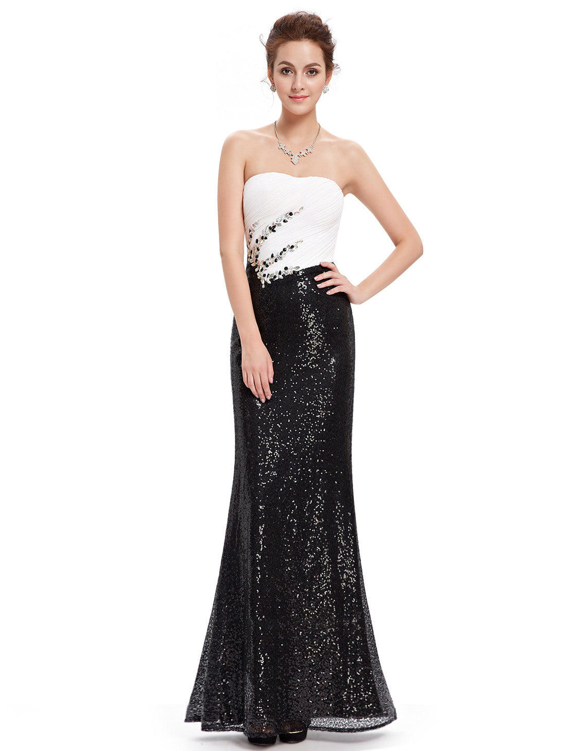 Obeige Charming Black and White Strapless Long Evening Dress