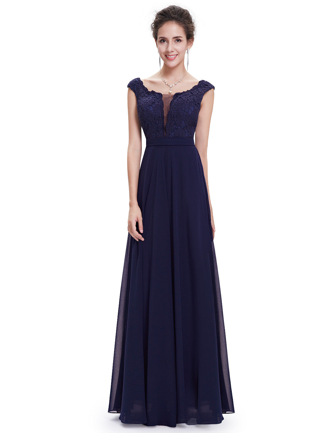 Elegant Round Neck Long Party Evening Dress