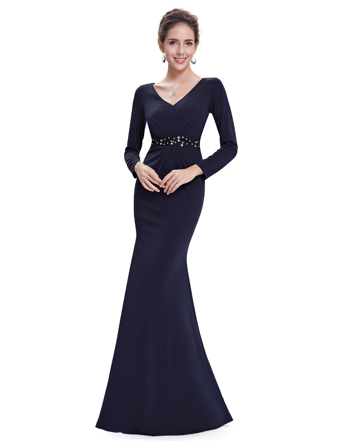 Obeige Elegant Navy V-neck Ruched Long Sleeve Evening Dress
