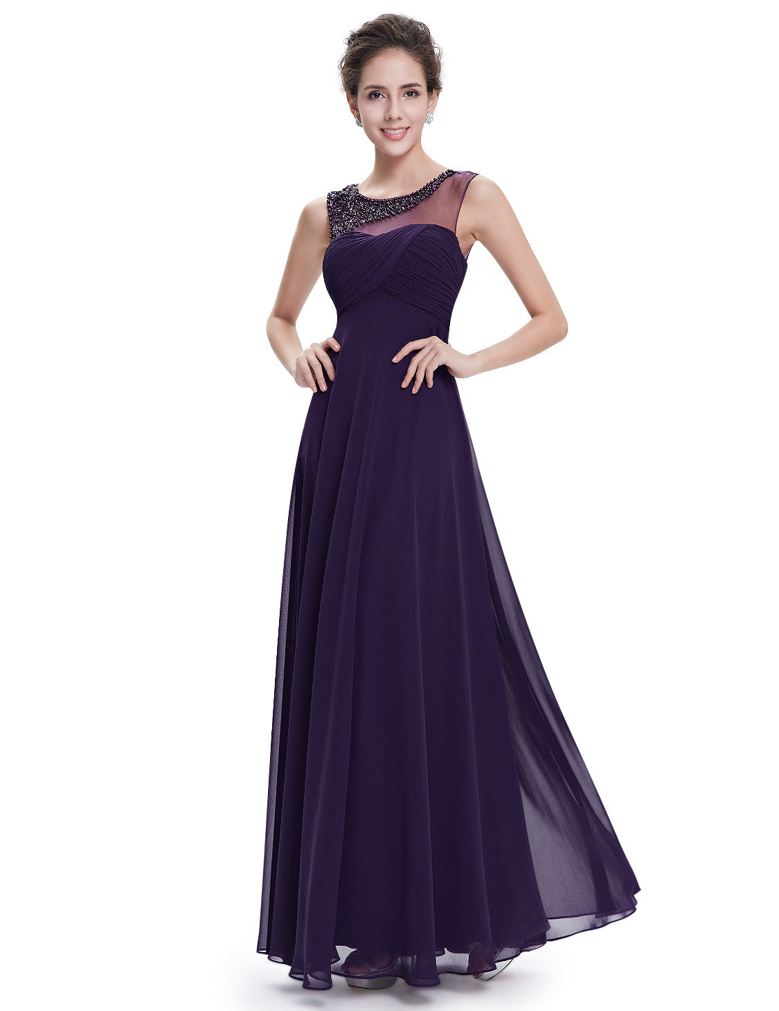 Elegant Round Neck Long Party Purple Evening Dress