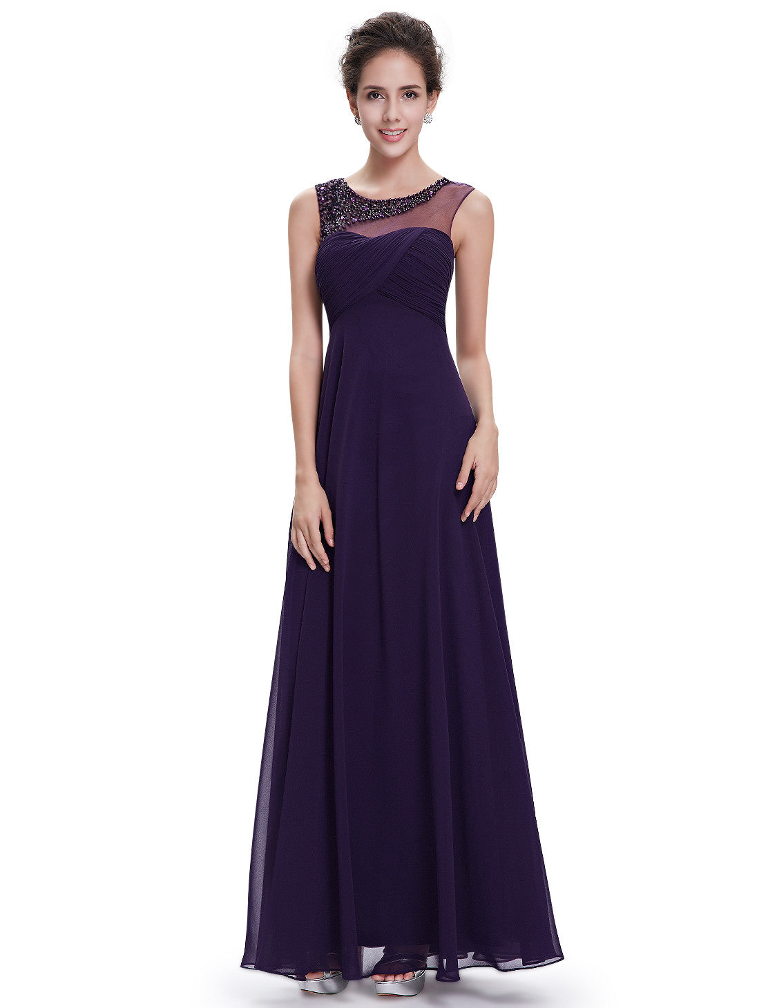 Elegant Round Neck Long Party Purple Evening Dress - O'beige