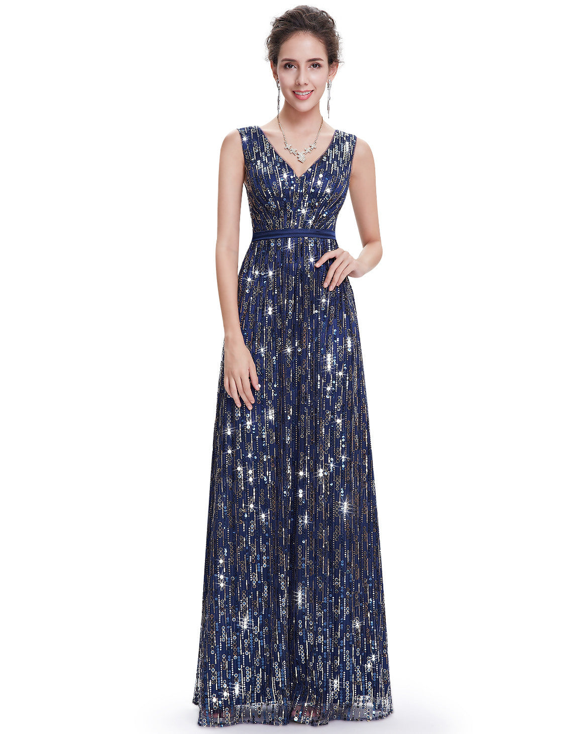 Obeige Elegant Navy Blue V-neck Long Dress