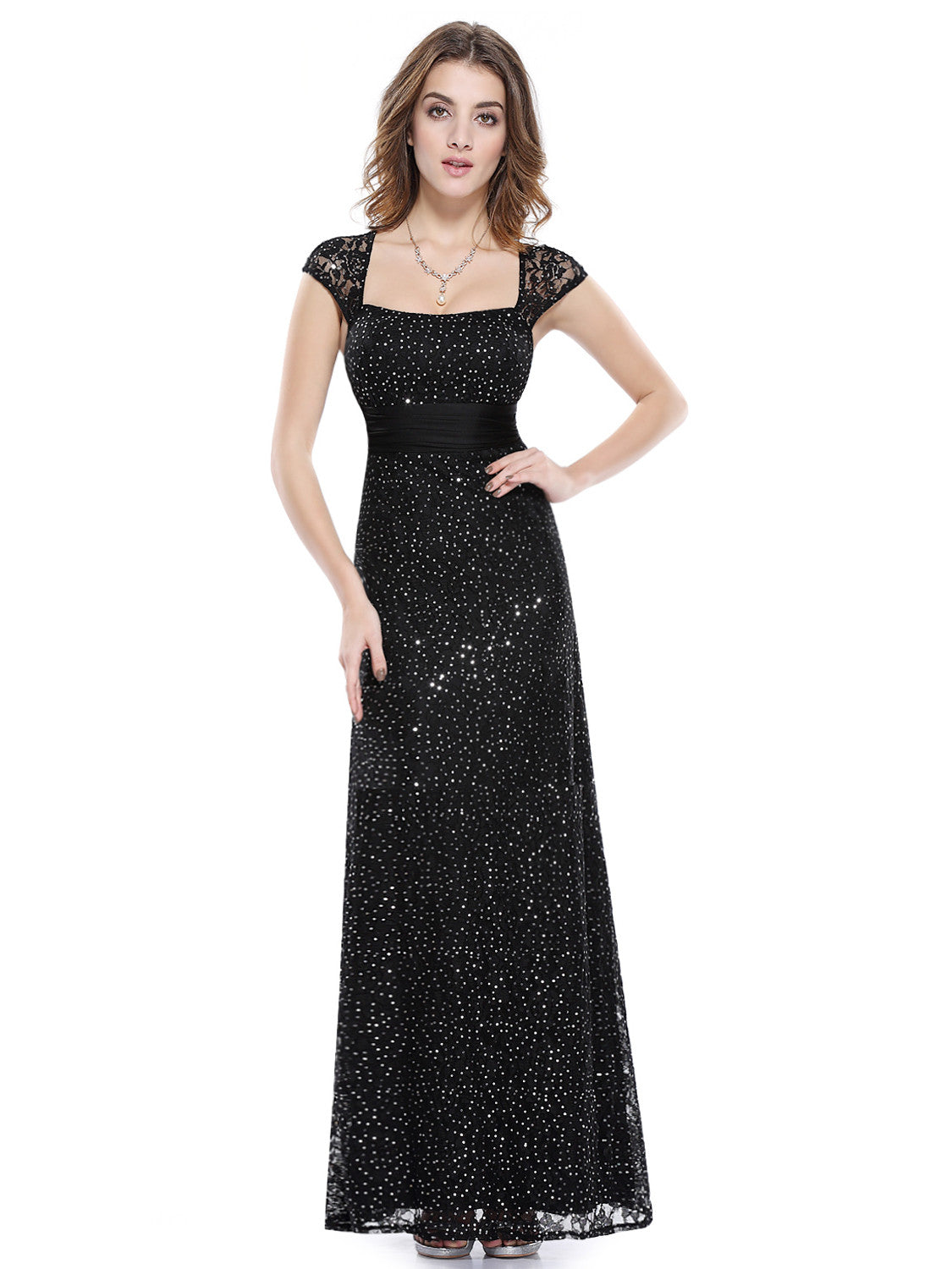 Black Elegant Lacy Long Evening Party Dress