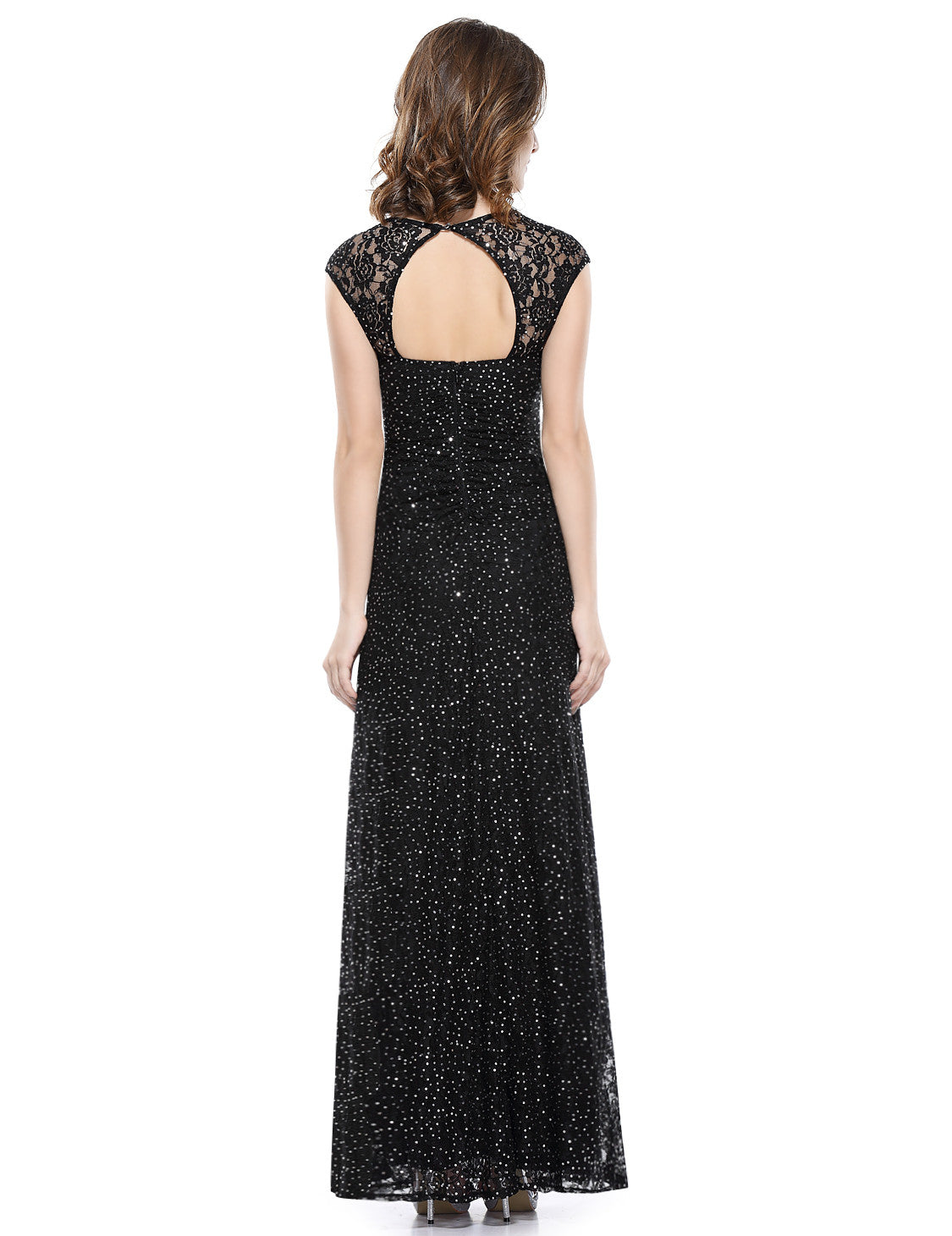 Black Elegant Lacy Long Evening Party Dress - O'beige