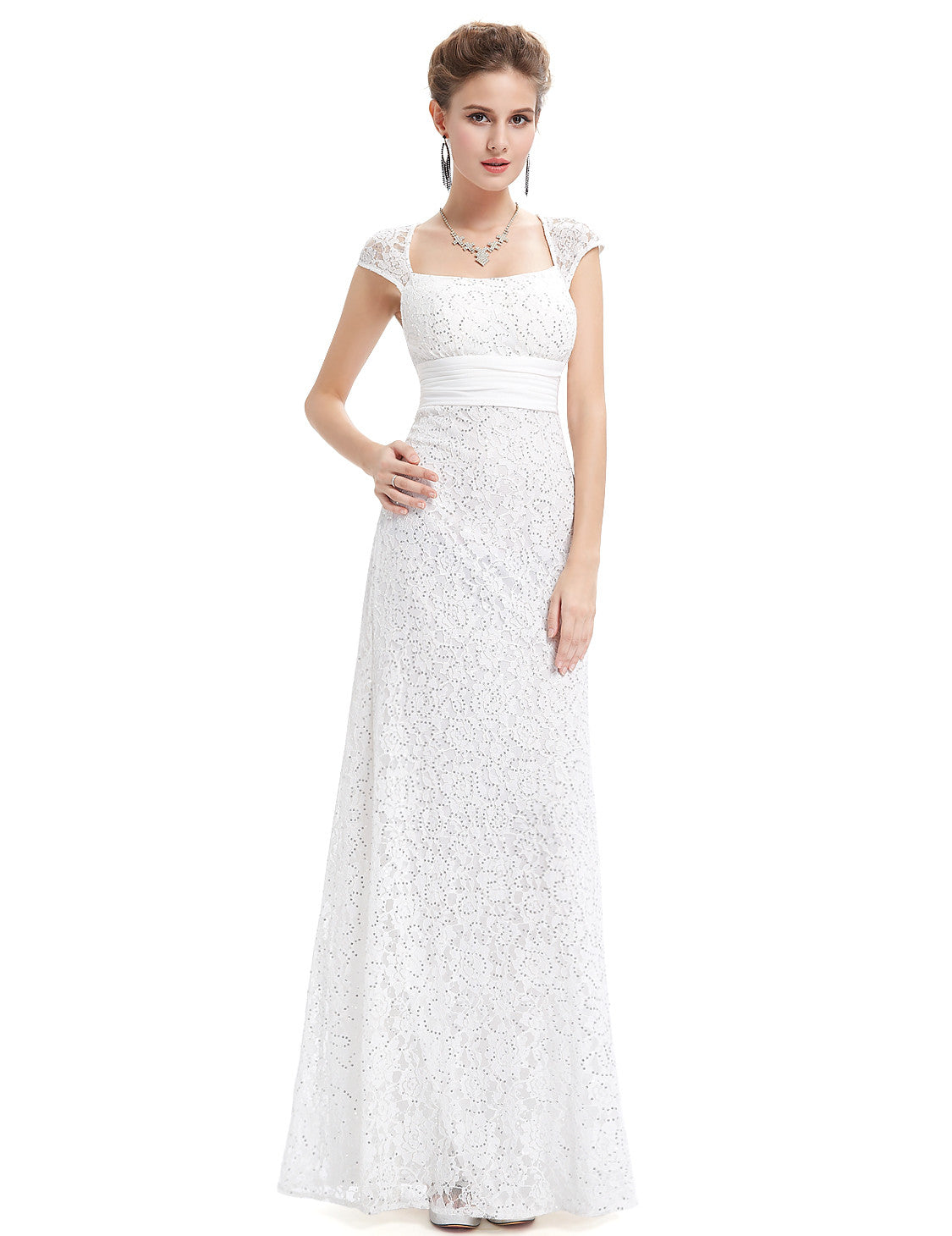 White Elegant Lacy Long Evening Party Dress