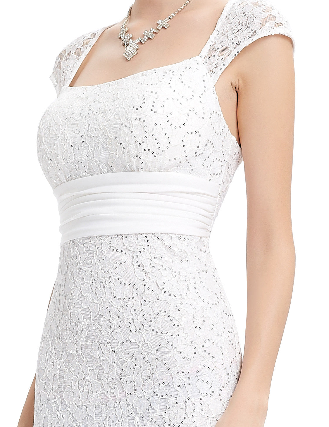 White Elegant Lacy Long Evening Party Dress - O'beige