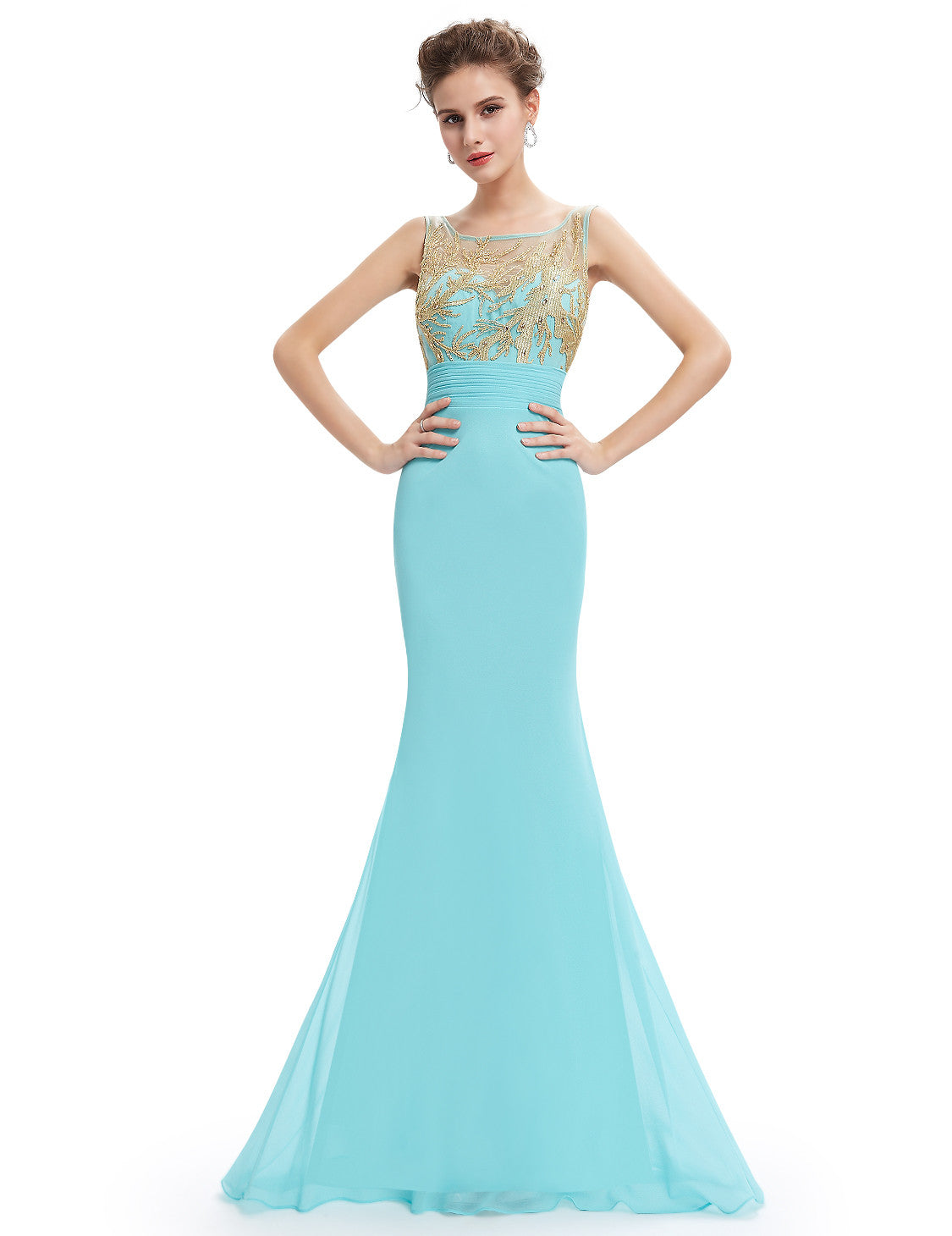 Elegant Evening Sleeveless Long Party Dress