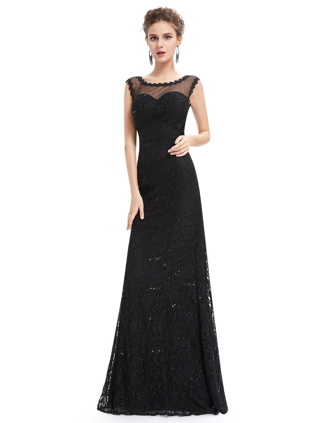 Obeige Elegant Black Lacy Long Evening Dress