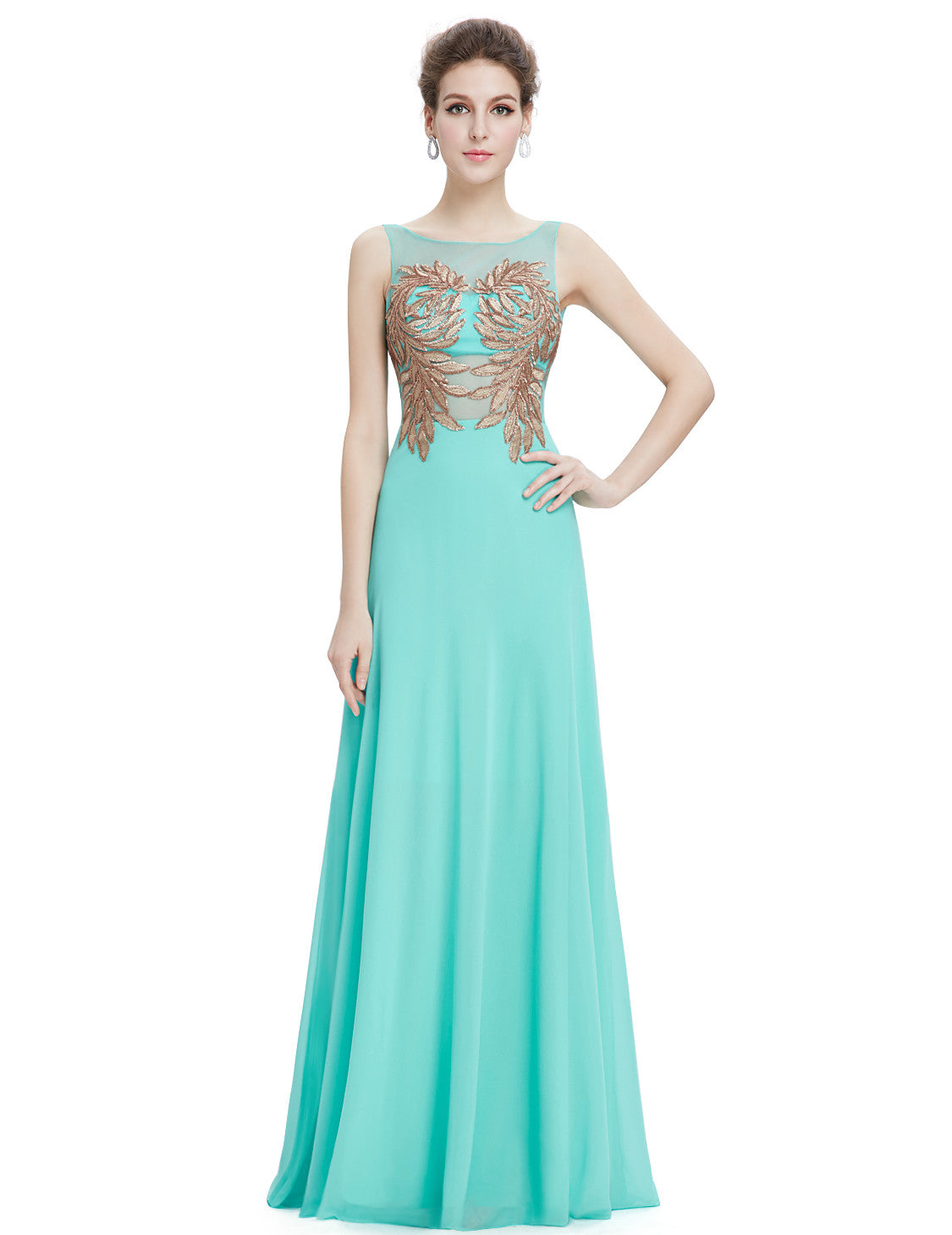 Elegant Round Neck Long Evening Dress