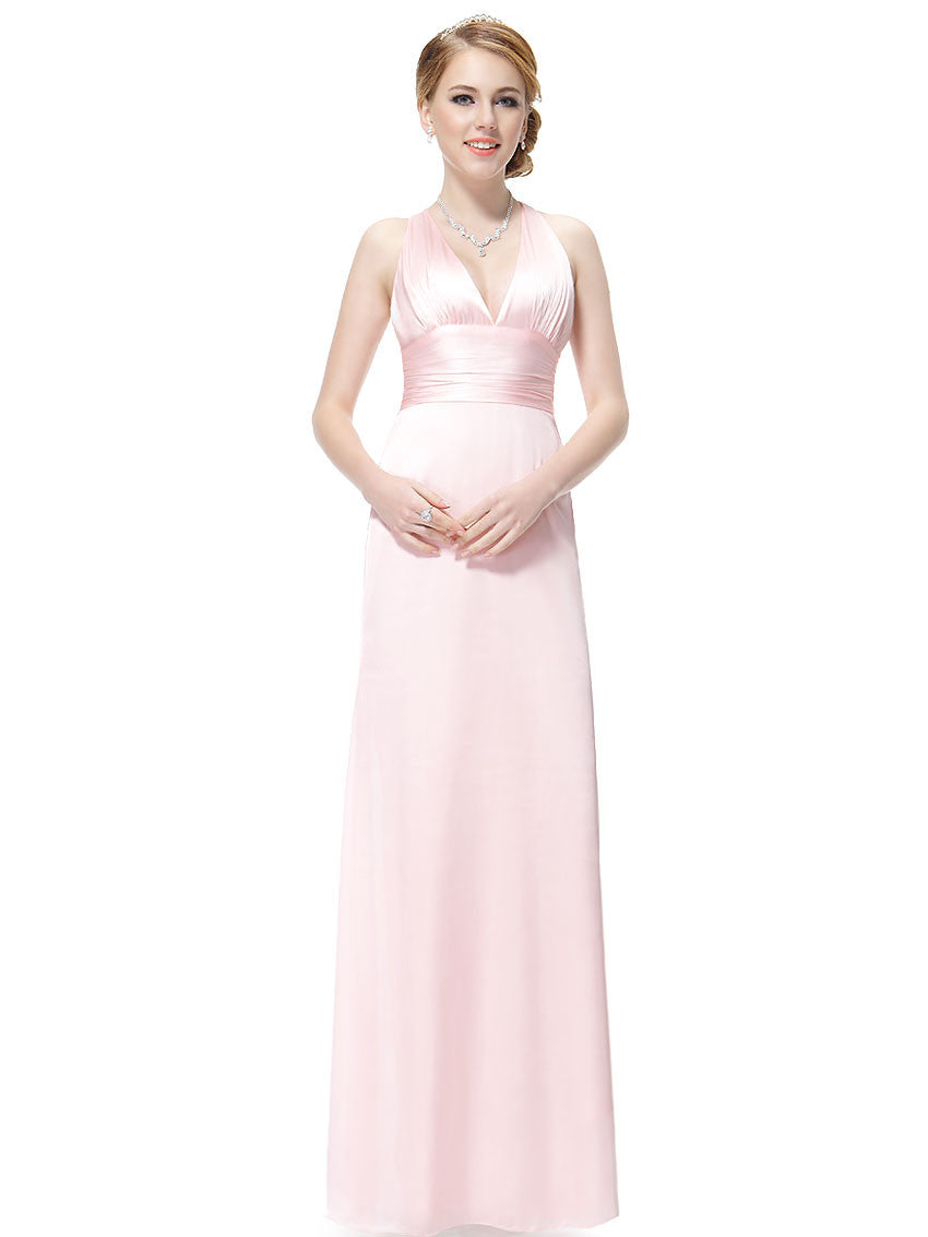 Pink V-Neck Evening Dress