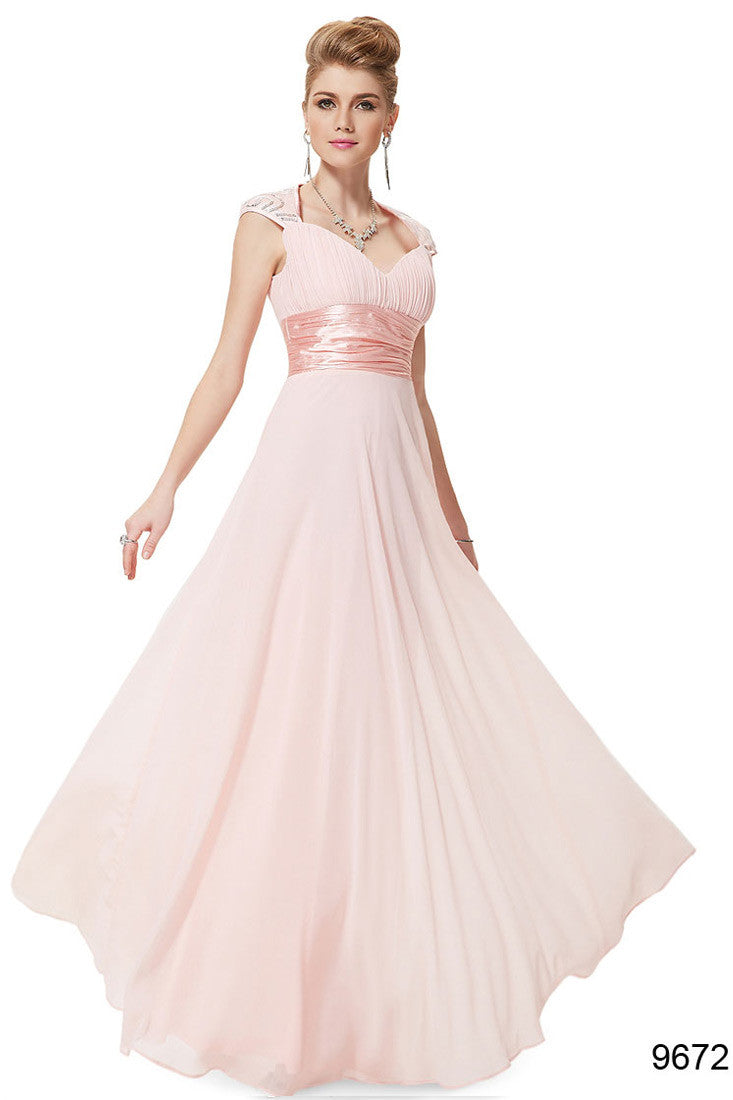 Obeige Pink V-neck Sequins Chiffon Dress