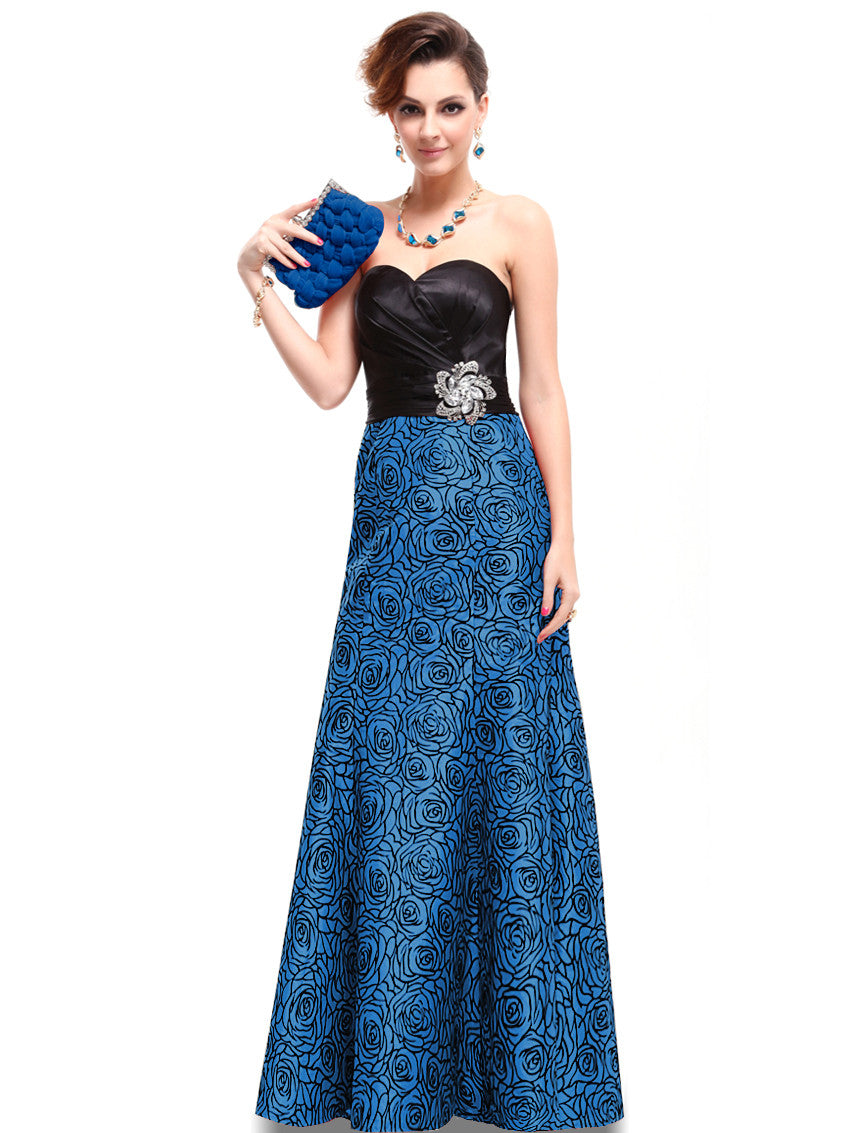 Strapless Sapphire Blue and Black Satin Floral Printed Gown - O'beige