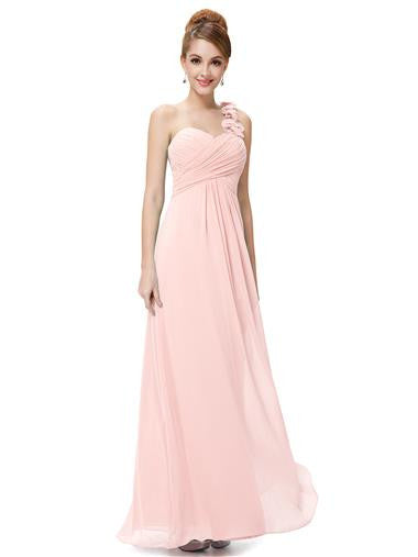 Obeige Pink One Shoulder Chiffon Evening Dress