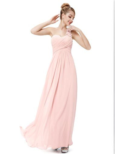Obeige Pink One Shoulder Chiffon Evening Dress - O'beige