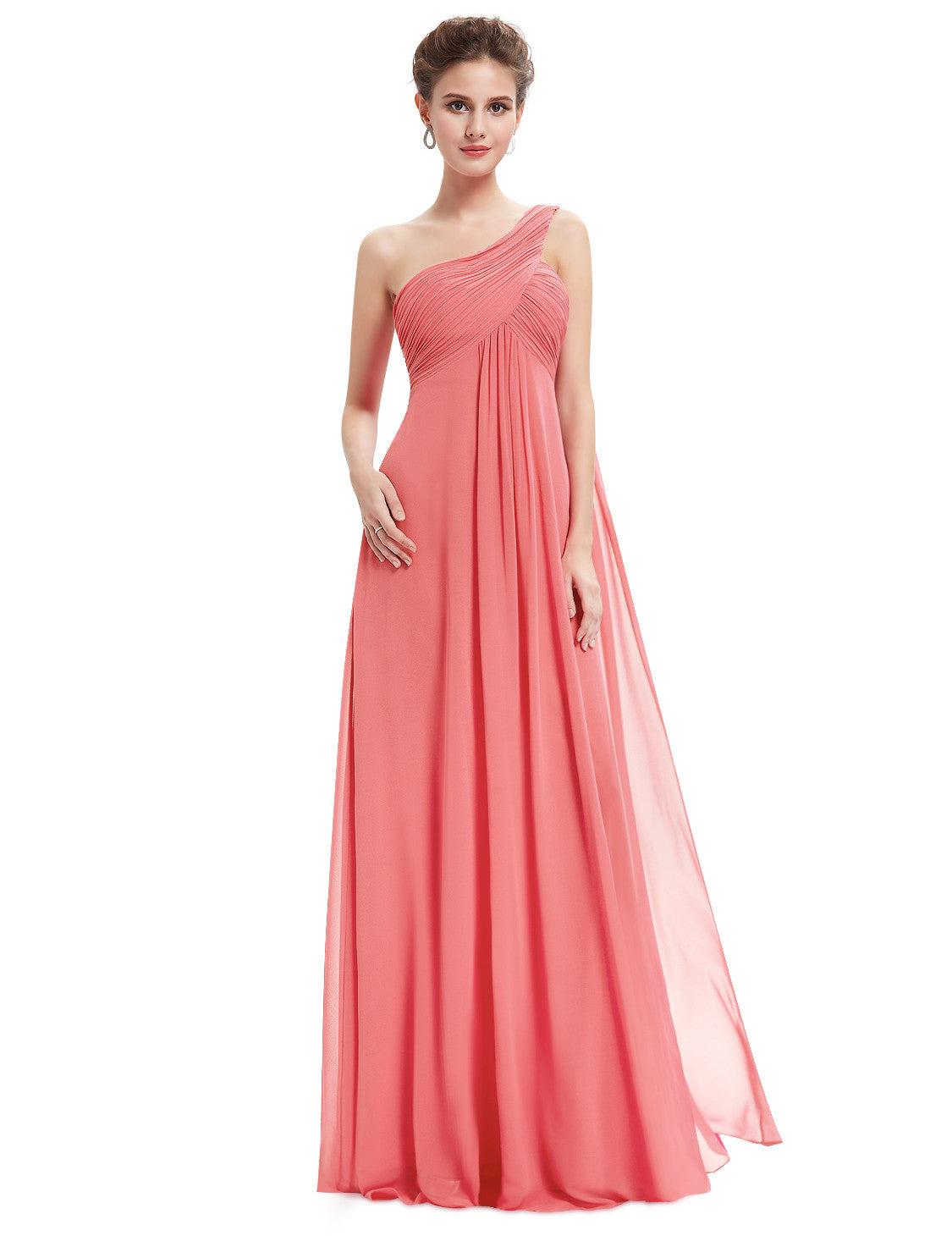 One Shoulder Watermelon Red Ruffles Long Evening Dress