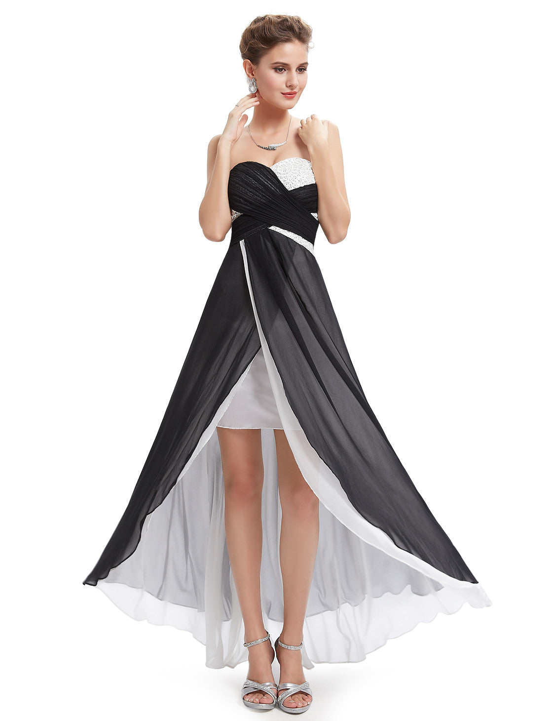Unique Strapless Ruched Bust Slitted Evening Dress