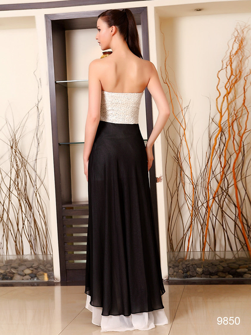 Unique Strapless Ruched Bust Slitted Evening Dress - O'beige