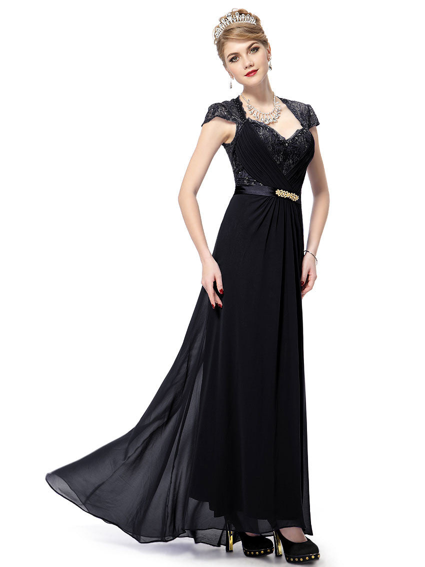 Black V-neck Diamante Cap Sleeve Dress