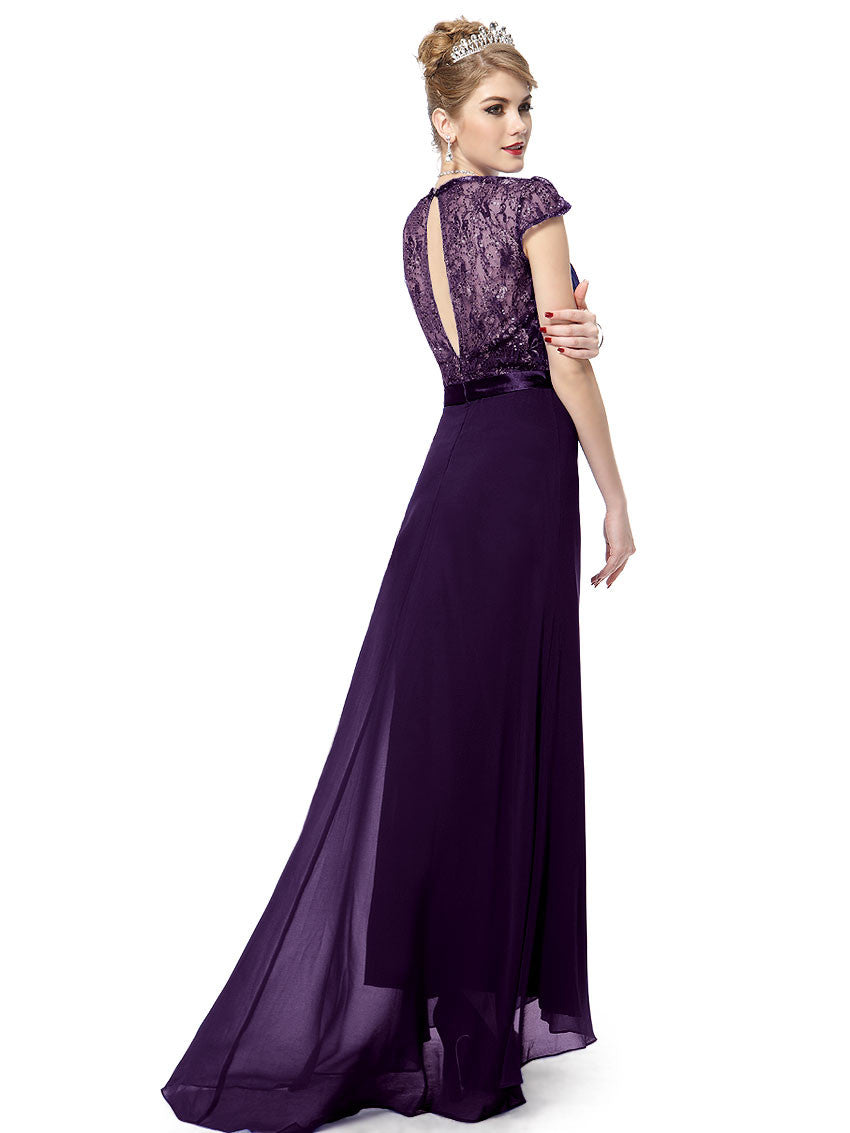 Purple V-neck Diamante Cap Sleeve Dress - O'beige