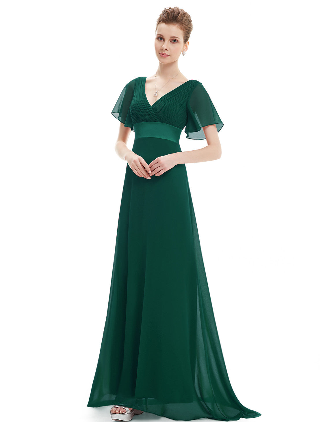 Obeige Glamorous Green Double V-Neck Ruffles Padded Evening Dress