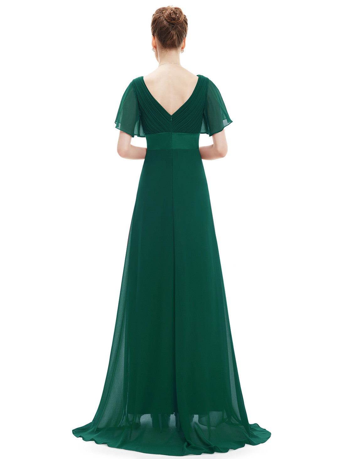 Obeige Glamorous Green Double V-Neck Ruffles Padded Evening Dress - O'beige