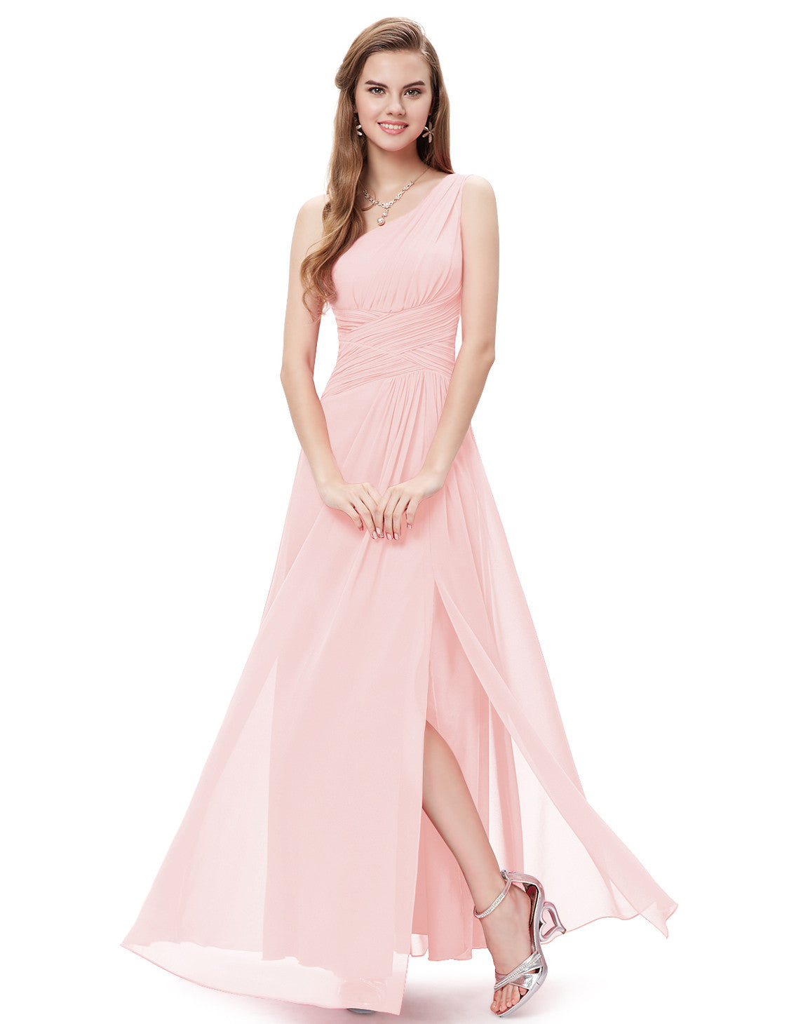 Obeige Pink One Shoulder Long Evening Dress - O'beige