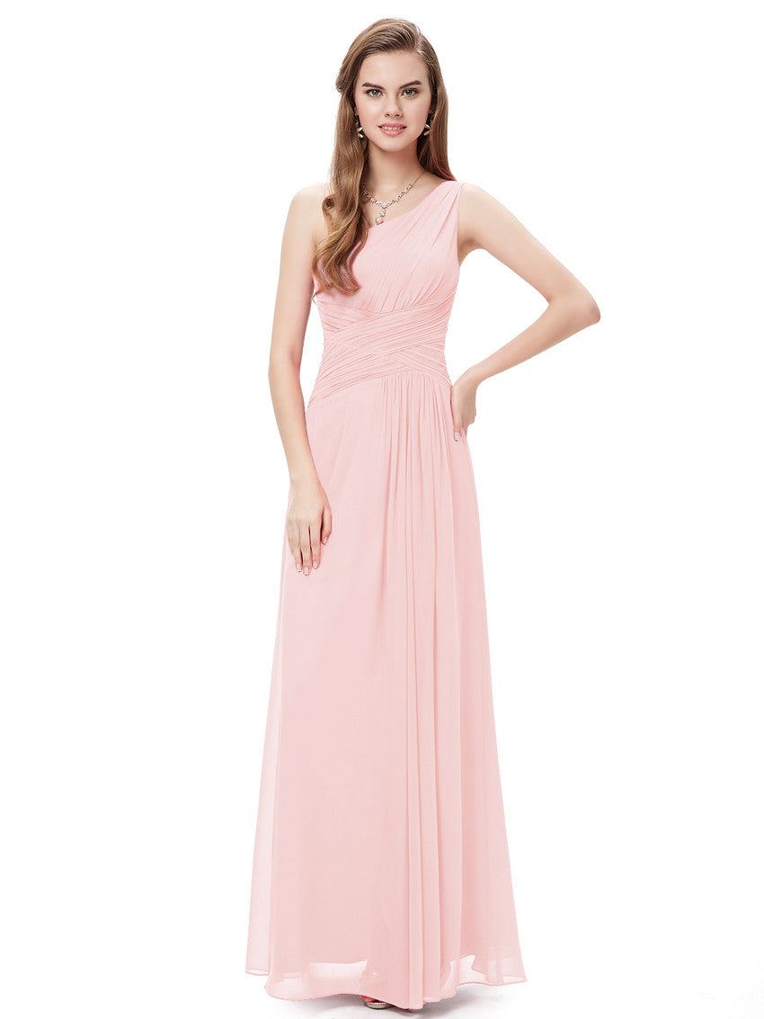 Obeige Pink One Shoulder Long Evening Dress