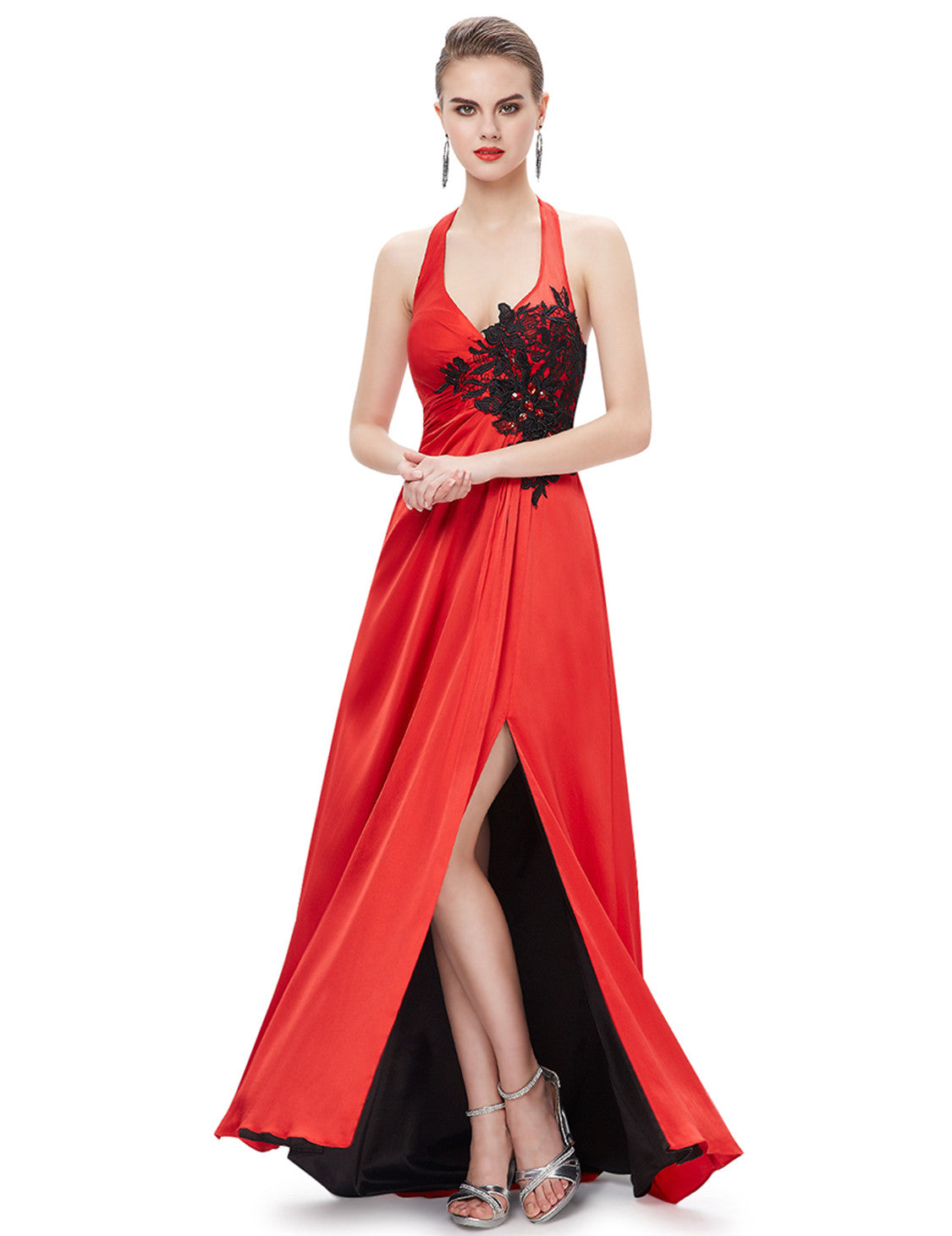 Halter Neckline Trailing Evening Dress