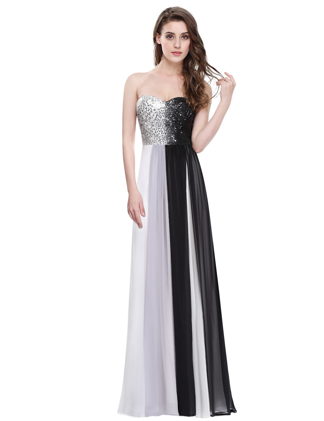 Strapless Sequined Bust Ombre Long Evening Dress - O'beige