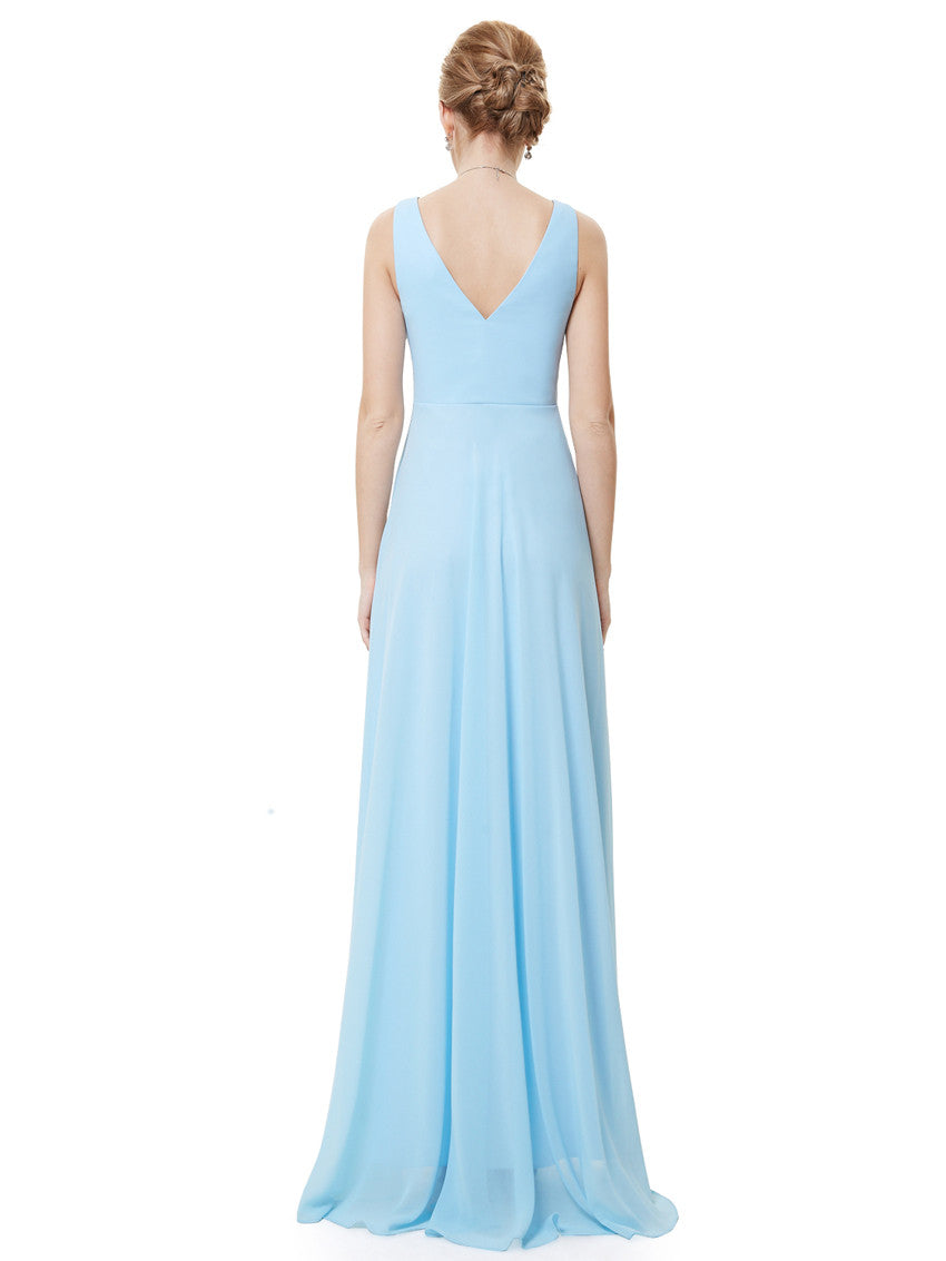 Blue Double V-neck Rhinestones Evening Dress - O'beige