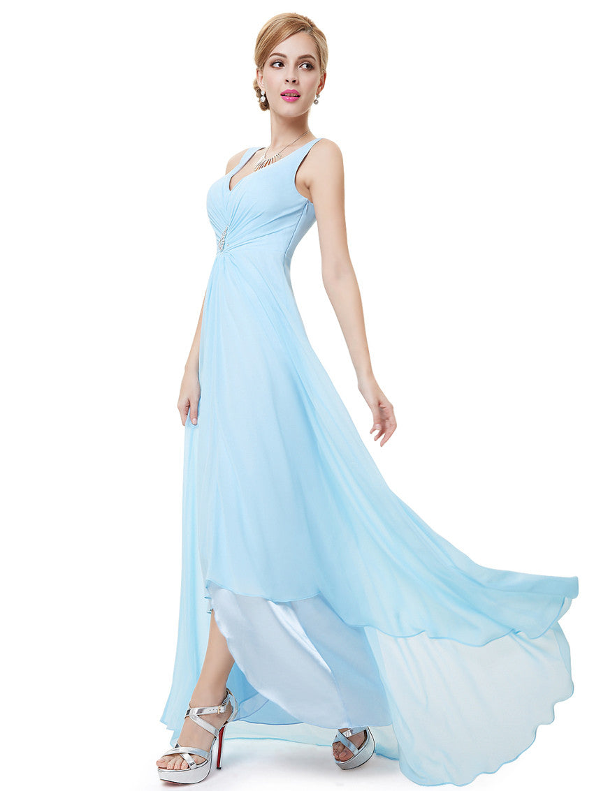 Blue Double V-neck Rhinestones Evening Dress