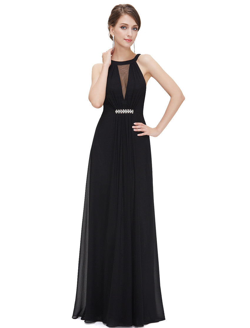 Black Sleeveless Maxi Evening Dress