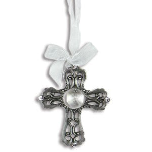 Pewter & Crystal Hanging Cross - Keepsake-Memorials