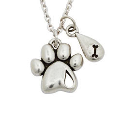 Pet Memorial Paw Print Necklace - Forever Missed - Keepsake-Memorials