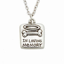 Pet Memorial Bone and Halo Necklace - In Loving Memory - Keepsake-Memorials