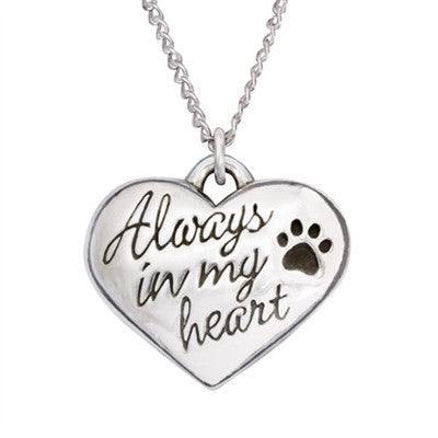 Pet Memorial Heart Necklace - Always In My Heart - Keepsake-Memorials