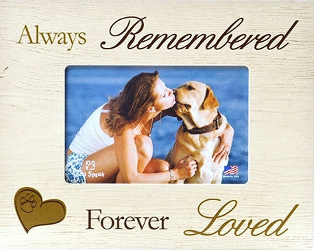 "Pet Picture Frame-Always remembered...Forever loved  7.5"" x 9.5"" - Keepsake-Memorials"