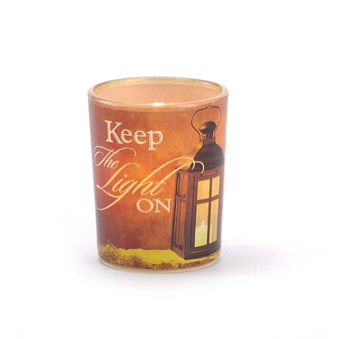 Keep the Light On Glass Tea light Holder - Keepsake-Memorials